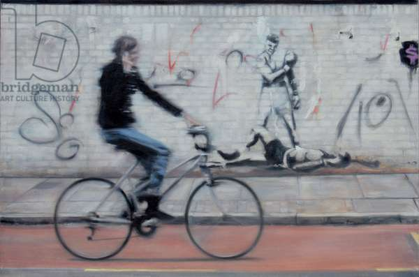 Cyclist, Curtain Road (oil on calico)