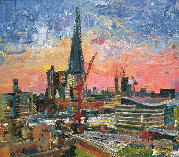 The Shard under construction, 2012 (oil on board)