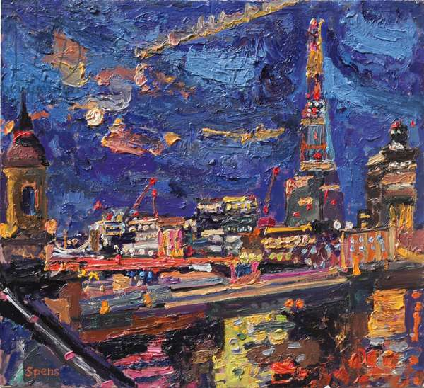 The Shard, moon rising, 2013 (oil on board)