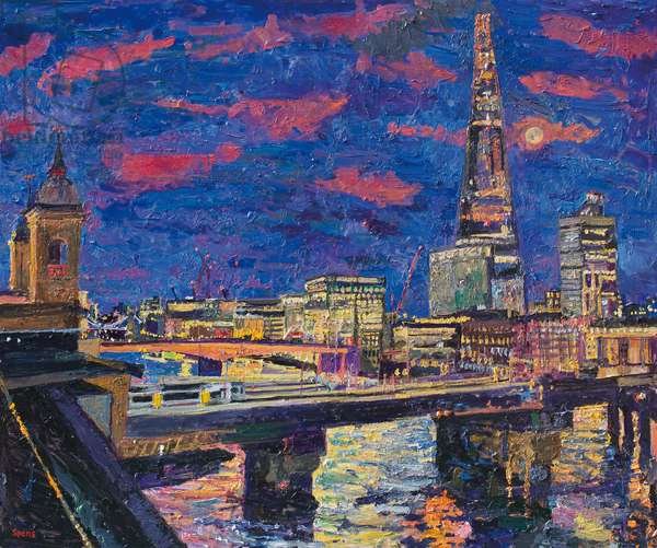Night, the Shard from Queen Street Place, 2013 (oil on board)