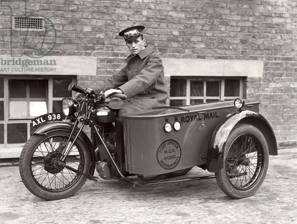 Delivery motorcycle, 1934 (b/w photo)