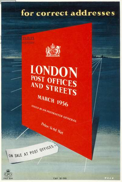 For correct addresses 'London Post Offices and Streets', On sale at Post Offices, March 1956 (colour litho)