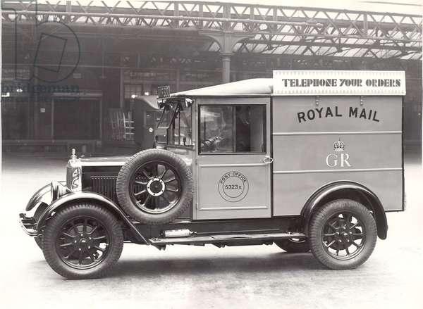 Mail van with poster taken in King Edward building yard, London, 1934 (b/w photo)