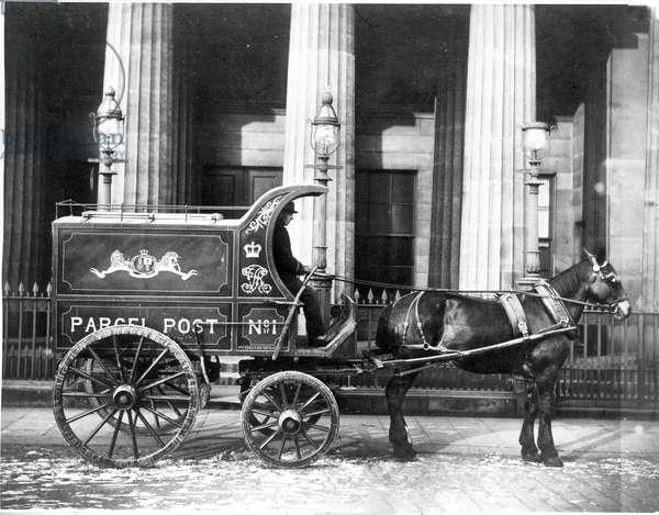 Horse-drawn mail van (b/w photo)