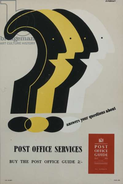 'Post Office Guide' answers your questions about Post Office services, 1952 (colour litho)