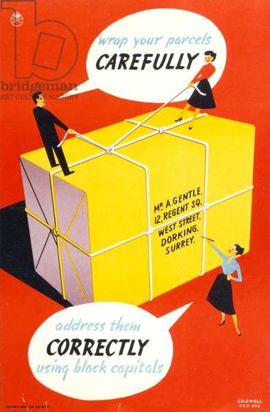Wrap your parcels carefully, 1953 (colour litho)