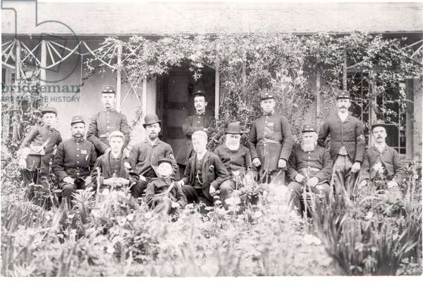 The staff of Brixham Post Office c.1882-92 (b/w photo)