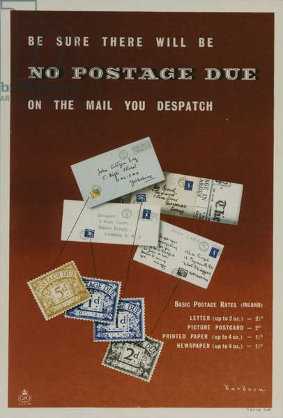Be sure there will be no postage due on the mail you despatch, 1955 (colour litho)