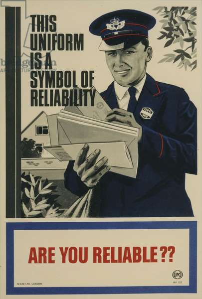 This uniform is a symbol of reliability - are you reliable?, 1968 (colour litho)