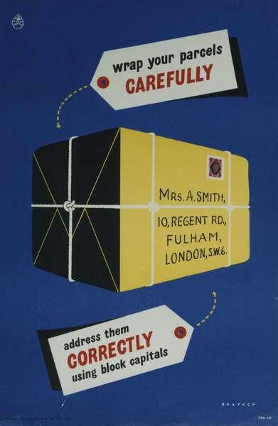 Wrap your parcels carefully, 1952 (colour litho)