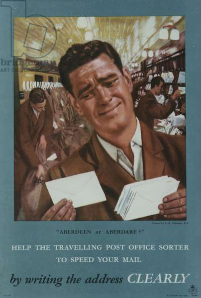 Help the Travelling Post Office sorter to speed your mail by writing the address clearly, 1958 (colour litho)