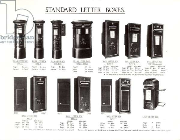Assortment of standard letter boxes, c.1935 (litho)