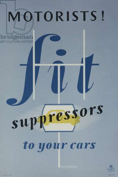 Motorists! Fit suppressors to your cars, 1953 (colour litho)