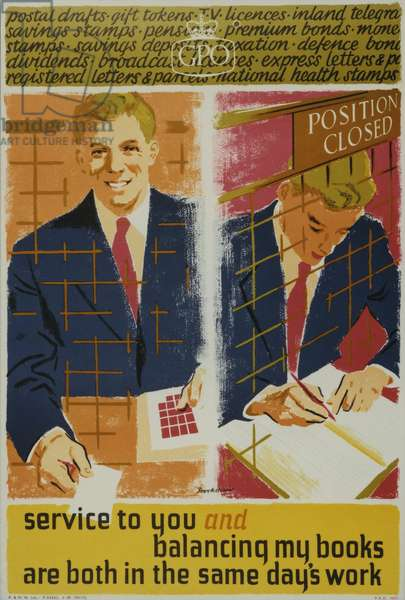 Service to you and balancing my books are both in the same days work, 1959 (colour litho)
