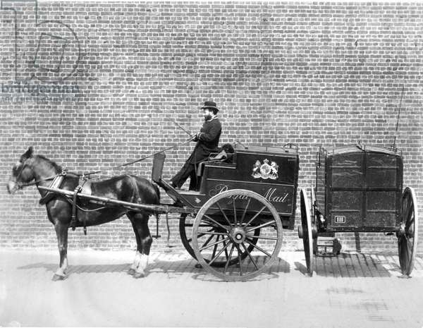 Old mail cart and driver, c.1887 (b/w photo)