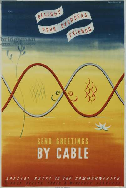 Delight your overseas friends - Send greetings by cable, 1954 (colour litho)