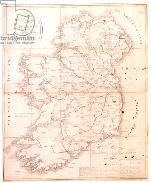 A map of the mail coach branching cross and bye post roads of Ireland, engraved by S. Kerling, 1805 (engraving)
