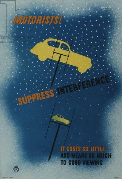 Motorists! Suppress interference, 1952 (colour litho)