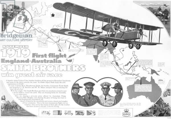 Poster celebrating the 50th Anniversary of the first flight made from England to Australia by the Smith Brothers in November 1919, 1969 (litho)