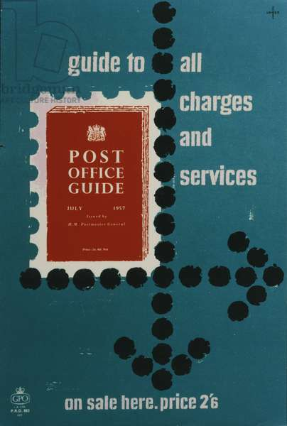 'Post Office Guide, July 1957', Guide to all charges and services, 1957 (colour litho)
