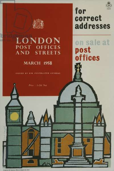 'London Post Offices and Streets, March 1958', For correct addresses on sale at post offices, 1958 (colour litho)