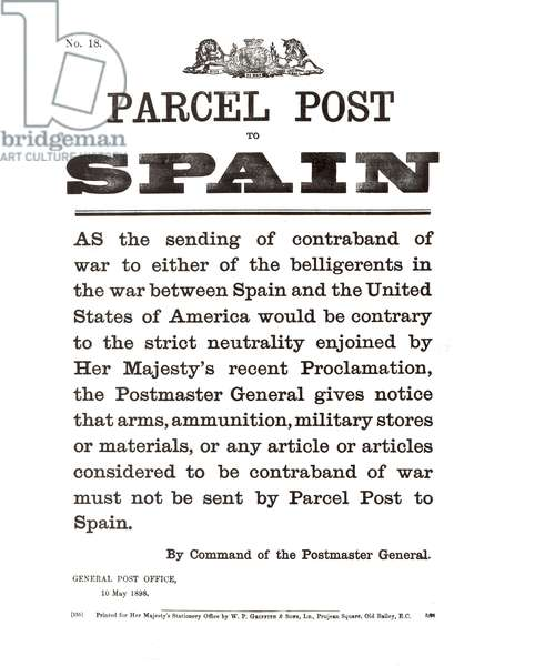 Parcel post to Spain, by command of the Post Master General, 10th May, 1898, printed by W.P. Griffith & Sons, Ltd. (litho)
