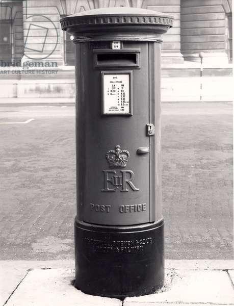 Post box, Horse Guards Parade, Whitehall, London, 1952 (b/w photo)
