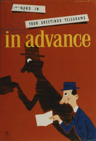 Hand in your greetings telegrams in advance, 1954 (colour litho)