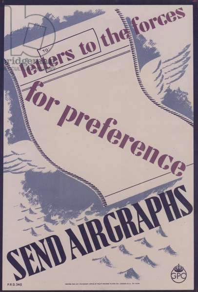 Letters to the Forces - for preference send airgraphs, 1943 (colour litho)