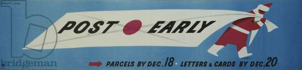 Post early, Parcels by Dec 18, Letters and cards by Dec 20, 1948 (colour litho)