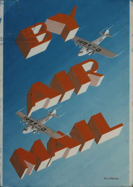 By Air Mail, 1935 (poster paint on board)