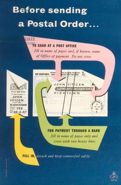 Before sending a Postal Order, 1957 (colour litho)