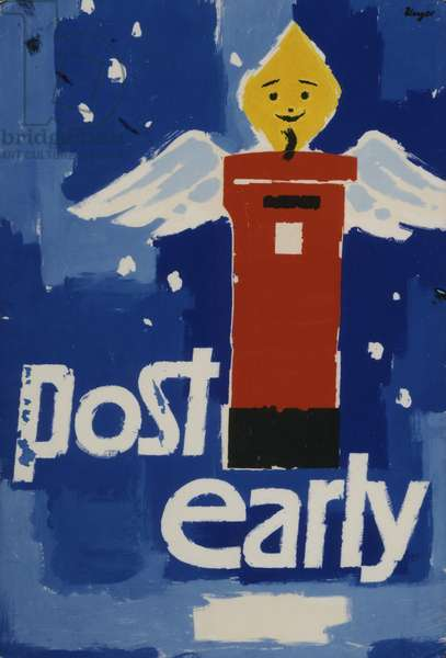 Post Early, 1958 (poster paint & collage on board)