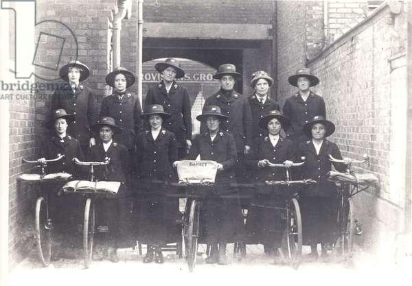 Postwomen during the First World War, c.1914-18 (b/w photo)