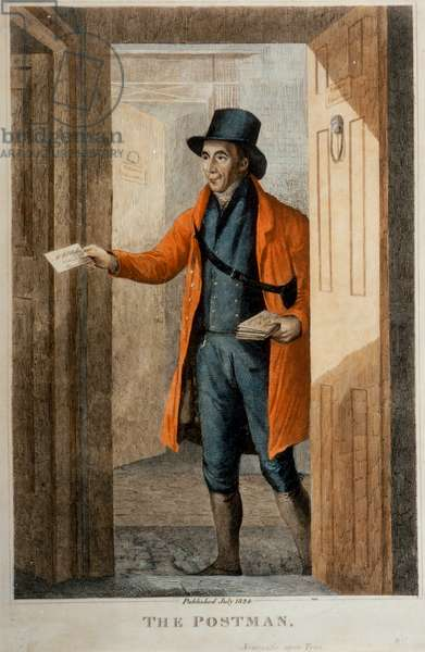 The Postman. Newcastle Upon Tyne, published July, 1824 (coloured engraving)