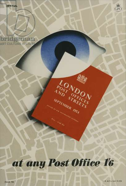 'London Post Offices and Streets, September 1954', At any Post Office 1'6, 1954 (colour litho)