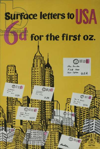 Surface letters to USA 6d for the first oz., 1960 (colour litho)