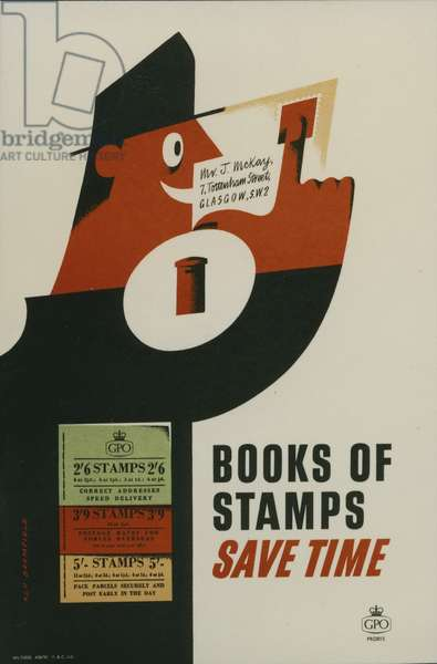 Books of stamps save time, 1956 (colour litho)