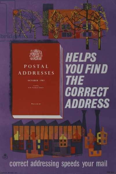 'Postal Addresses' helps you find the correct address, 1961 (colour litho)