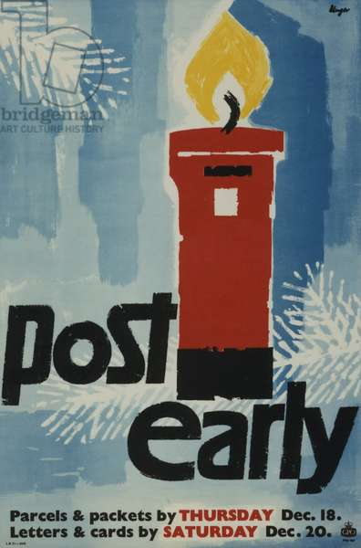 Post Early, Parcels and packets by Thursday Dec 18, Letters and cards by Saturday Dec 20, 1958 (colour litho)