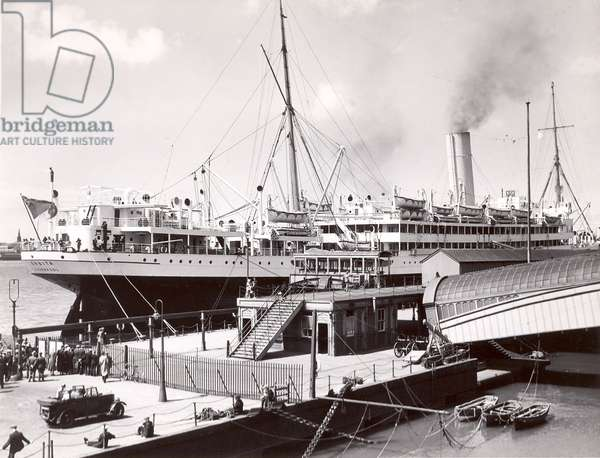 Floating Post Office at Liverpool Docks, 1934 (b/w photo)