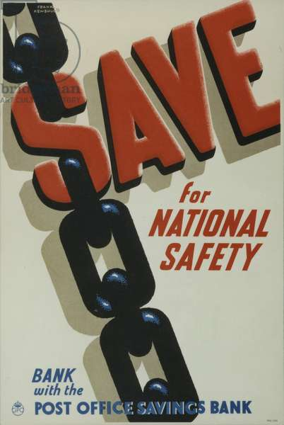 Save for National Safety - Bank with the Post Office Savings Bank, 1939 (colour litho)