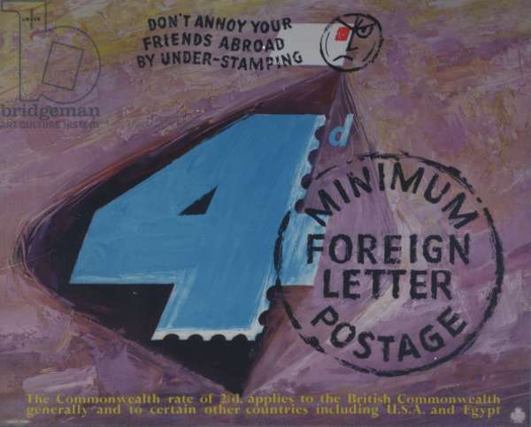 Don't annoy your friends abroad by under-stamping, 4d minimum foreign postage, 1954 (colour litho)