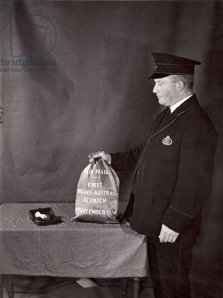 First Australian Air Mail Bag, December 1934 (b/w photo)