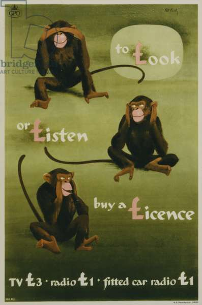 To look or listen buy a licence, 1957 (colour litho)
