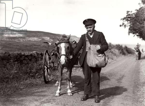 Postman leading a pony and trap, Northern Ireland, 1938 (b/w photo)
