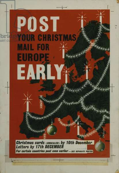 Post your Christmas mail for Europe early, 1957 (poster paint & collage on board)