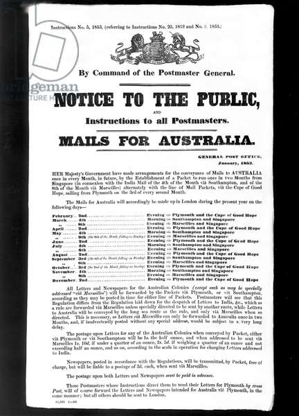 Mails for Australia, 1853 (litho)