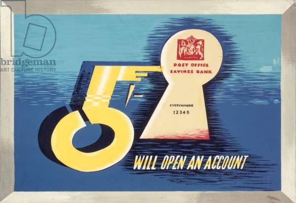 As little as 5 shillings will open an account, 1960 (poster paint on board)