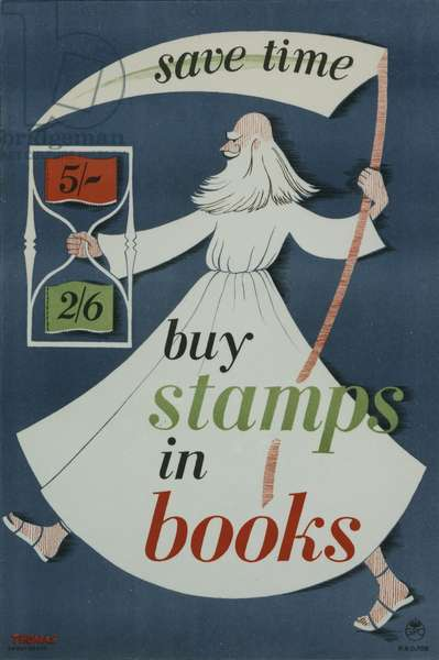 Save time buy stamps in books, 1953 (colour litho)